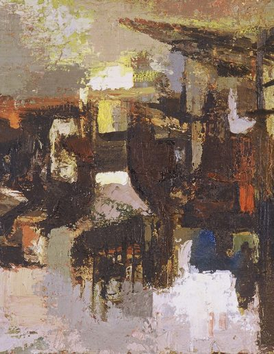 Tom Hutcheson, Untitled (Cranes), Oil on Canvas, 51 x 76cm, 60s