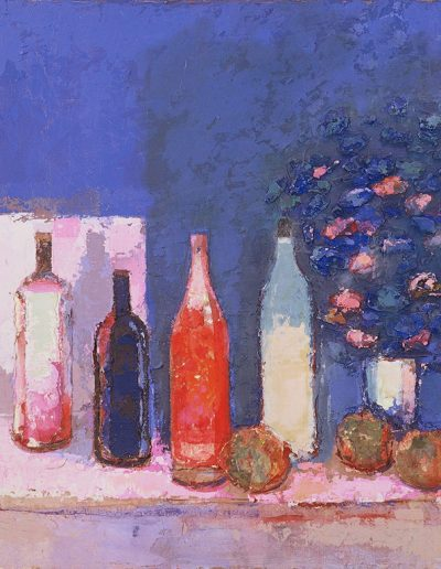 Tom Hutcheson, Untitled (Bottles), Acrylic on Board, 76 x 69cm, 80s