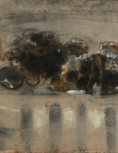 Tom Hutcheson, Unfinished – composition with fish, ? on Board, 61 x 92cm,60s