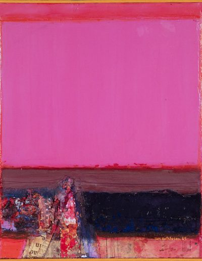 Tom Hutcheson, Earthscape in red and Encrusted Reds, Acrylic on Board, 56 x 51cm, 1985