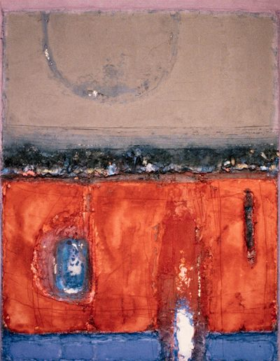 Tom Hutcheson, Unknown painting, Rust earth with blue strip, putty sky.