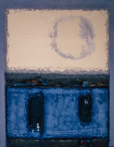 Tom Hutcheson, Unknown painting, Blue & dark blue ground, white sky on violet.