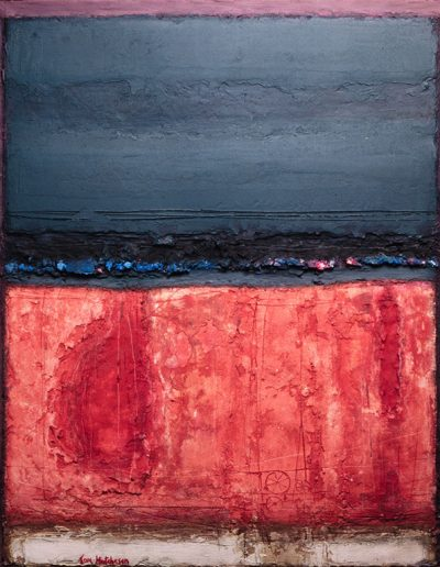 Tom Hutcheson, Unknown painting, Pink ground with white strip, dark blue sky.