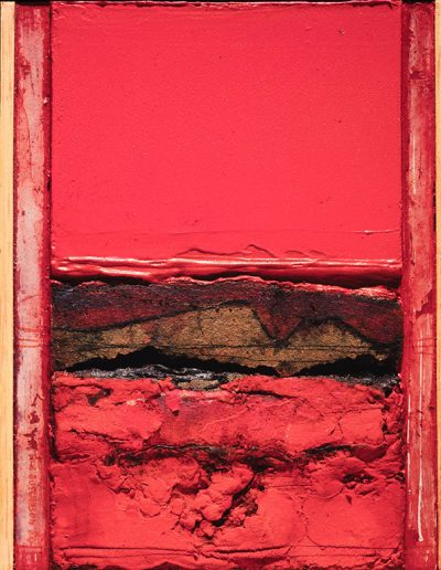 Tom Hutcheson, Unknown painting, mainly red. Cabinet painting size.