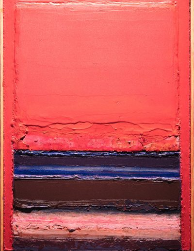 Tom Hutcheson, Unknown painting, red sky, blue brown pink earth.