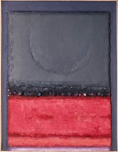 Tom Hutcheson, Unknown painting, Pink ground, dark blue sky with moon.