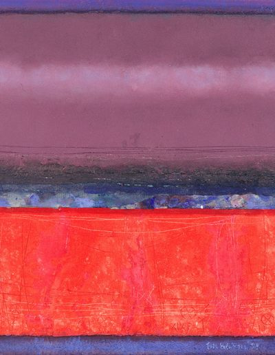 Tom Hutcheson, Recurring Memory of a Place with Red, Acrylic on Board, 56 x 53cm, 1999