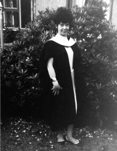 Molly in academic robes, 60s