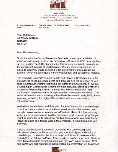 Low Parks Museum Letter, PP1