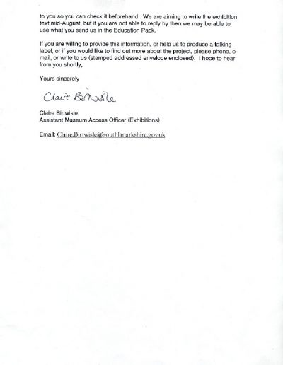 Low Parks Museum Letter, PP2