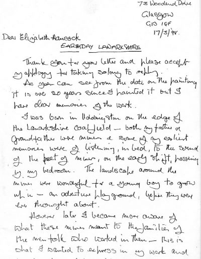 Letter re:Earthday Lanarkshire, PP1
