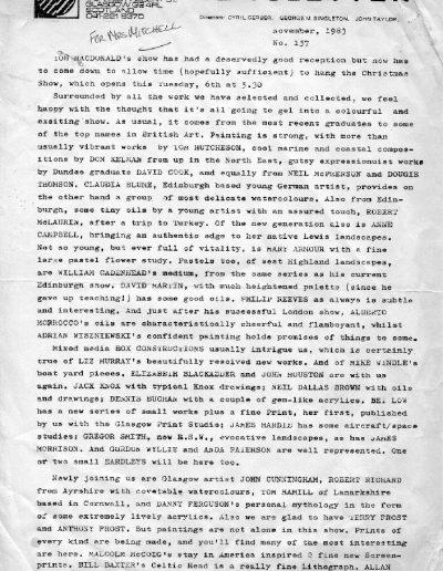 Compass Gallery Newsletter, Nov 1983, PP1
