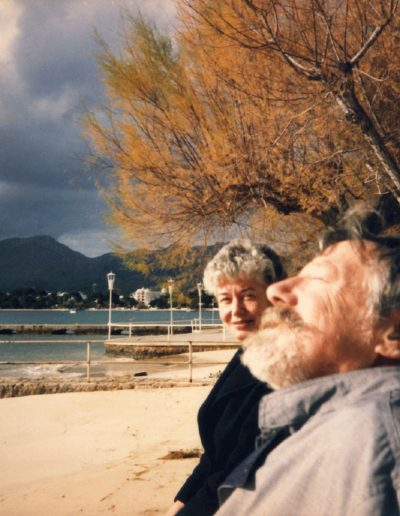 Tom with Dorothy Hanley– his sister in law, in Puerto Pollensa, late 80s