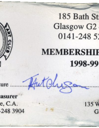 Tom Hutcheson, Art Club Membership Card, 98-99
