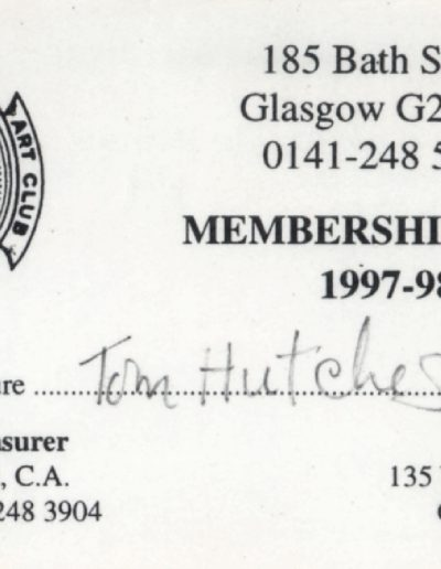 Tom Hutcheson, Art Club Membership Card 97-98