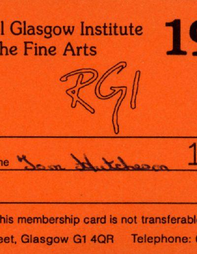 Tom Hutcheson, RGI Membership Card, Wallet Contents
