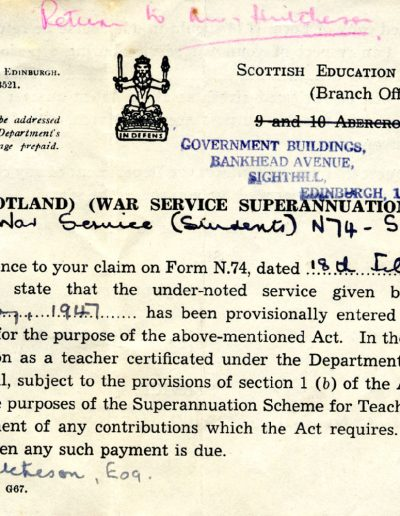 Education Department Letter, 1950