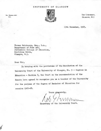 Tom Hutcheson, Education Department Letter, 1967