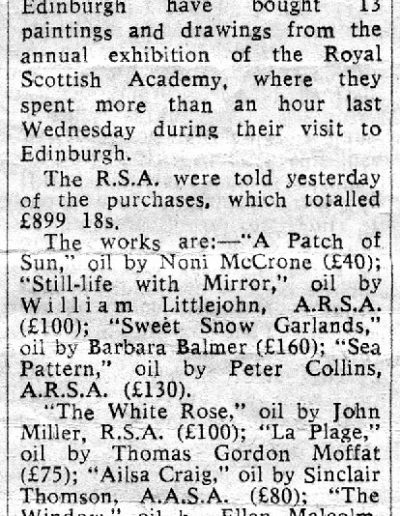 Tom Hutcheson, Queen Buys Scottish Paintings, Press Cutting