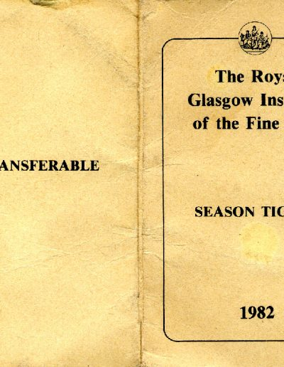 RGI Season Ticket, 1982, Outer