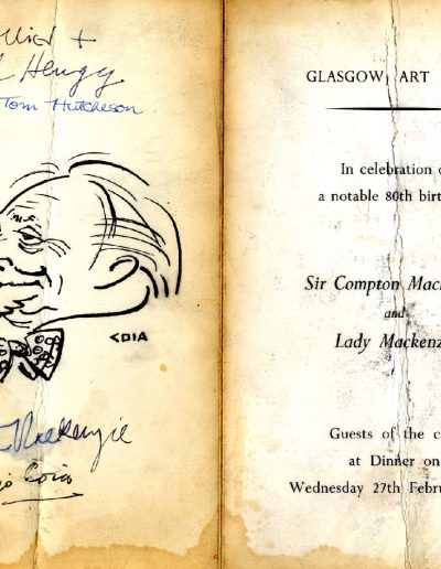 Tom Hutcheson, Glasgow Art Club, Compton Mackenzie Menu 27/02/63 (Outer)