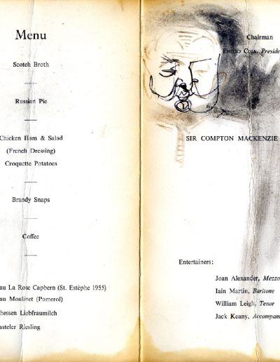 Tom Hutcheson, Glasgow Art Club, Compton Mackenzie Menu 27/02/63 (Inner)