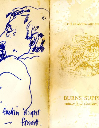 Tom Hutcheson, Glasgow Art Club, Burns Supper Menu, 22/01/82 (Outer)