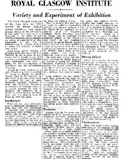 Tom Hutcheson, RGI Show Glasgow Herald Review, 12/10/1959