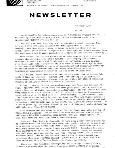 Compass Gallery, Newsletter 115, PP1, Nov 1979