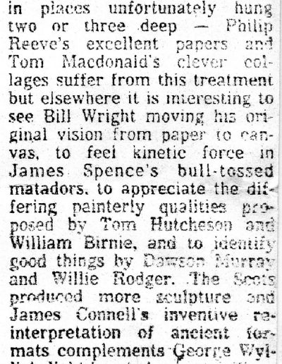 Glasgow Group, Edinburgh City Arts Centre, Scotsman Review, 28/06/1982