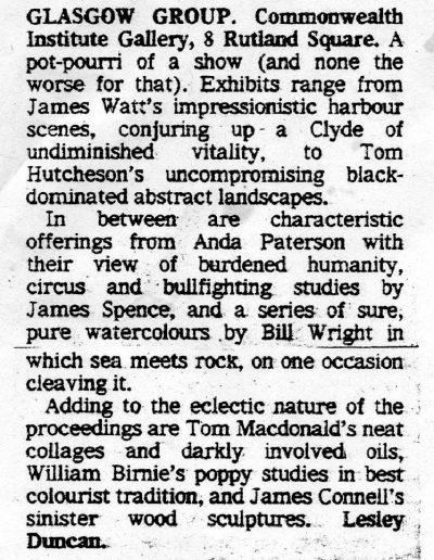 Glasgow Group, Edinburgh Festival Commonwealth Institute, Glasgow Herald Review, 21/08/1981