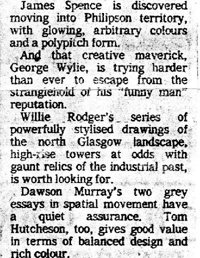 Glasgow Group, McLellan Galleries, Sunday Standard Review, 06/1983