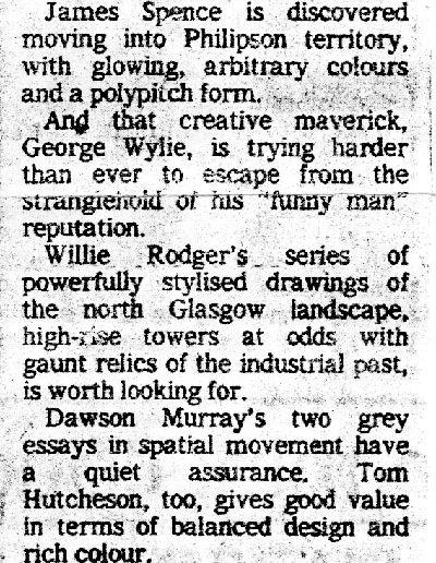 Glasgow Group, McLellan Galleries, Sunday Standard Review, 06/1983