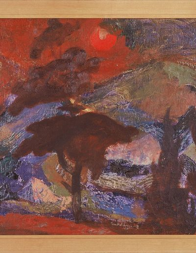 Tom Hutcheson, Northern Landscape, Oil on board, 38 x 53cm, 1955