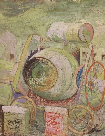 Tom Hutcheson, Untitled (cement mixer) 1944, Oil on Canvas, 46 x 61cm