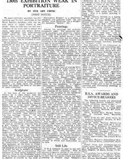 RSA 130th Annual Show Scotsman Review, 27/04/1956