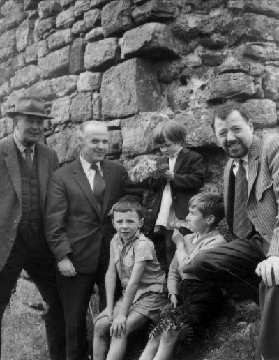 Possibly Dunure Castle. Clockwise from left: Douglas Clark (Molly's father), Donald Kane (Tom's friend from school-days), Gerry Hanley, Tom, Billy Givens and David Hanley jnr.