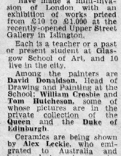 Upper Street Gallery, Islington Evening Citizen, Report 24/10/1969
