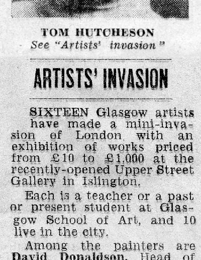 Upper Street Gallery, Islington Evening Citizen, Report and Portrait 24/10/1969